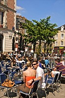 Cafes outdoor terraces Place des Lices Old Rennes Britanny 35 France