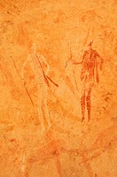 Neolithic rock art, painting of warriors, hunters with bow and arrow, Tasset Plateau, Tassili n'Ajjer National Park, Unesco World Heritage Site, Wilay...