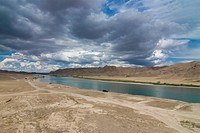 Ily river flowing through a barren landscape, Tamagaly Das, Kazakhstan, Central Asia