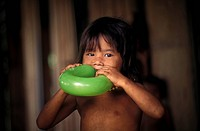 Cambodian child with a green balloon, Cambodia, Asia