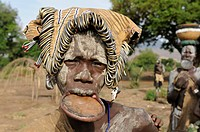 Woman of the Mursi tribe with a plate in her lip, Mago National Park, southern Omo valley, southern Ethiopia, Ethiopia
