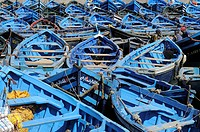 Colorful fishing boats in the port of Essaouira, Morocco, Africa