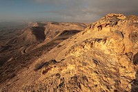 Israel, Negev Desert, the western rim of the Makhtesh Gadol Big Crater