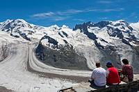 Gornergrat Ridge, view over Grenz Glacier and Gorner Glacier, mountains from left: Liskamm, Castor, Pollux and Breithorn, Zermatt, Grisons, Switzerlan...