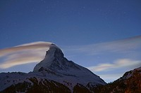 Starry sky above Matterhorn mountain, canton of Valais, Switzerland, Europe