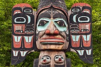 Detail of the Chief Johnson totem pole, Tlingit, Ketchikan, AK, Alaska