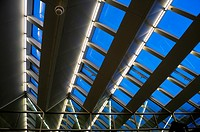 Detail of the roof of the train station of Atocha in Madrid. Spain