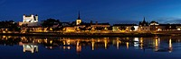 City view with castle and church of Saint Pierre, Saumur, Department Maine-et-Loire, Region Pays de la Loire, France, Europe