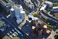 Aerial view, Media Habour and the Gehry buildings, Duesseldorf, North Rhine_Westphalia, Germany, Europe