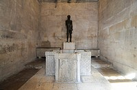 Statue of John the Baptist and baptismal font, Jupiter Temple, Palace of Diocletian, Split, Croatia, Europe