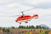 Russian Kamov KA 32 A12 heavy_lift helicopter from the Swiss company Heliswiss during a transport operation, Germany, Europe