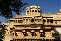 Partial view of an old Haveli, city palace in the fort of Jaisalmer, Jaisalmer, Rajasthan, India, Asia