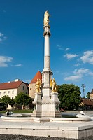 Holy Mary's column with angels and fountain, Zagreb, Croatia, Europe