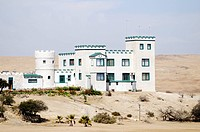 House in the shape of a castle in the Swakop valley near Swakopmund, Namibia, Africa