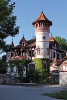 Scheuermann-Schloesschen manor, Kurparkschloessl, spa gardens, Herschinger, Ammersee lake, Fuenfseenland or Five Lakes region, Upper Bavaria, Bavaria,...