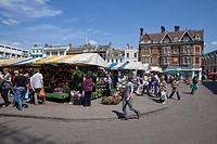 Market in the university city of Cambridge, Great Britain, Europe