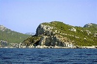 Coastline and cliffs near Marmaris, Anatolia, Turkey, Asia Minor, Eurasia
