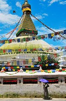 Boudhanath stupa is the largest Tibetan Buddhism stupa in Nepal