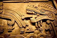 The head of a mythological serpent is dispayed at the Teotihuacan's gallery in the National Museum of Anthropology in Mexico City, January 1, 2011  Th...