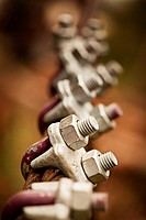 Close-up of cable clamps with selective focus