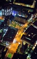 Aerial view, night shot, RWE-Tower with RUHR.2010 writing, Dortmund, Ruhrgebiet region, North Rhine-Westphalia, Germany, Europe