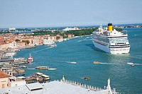 Cruise ship departing Venice, Veneto, Italy