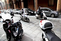 Motor bikes and scooters make up a large proportion of transport in Bologna, Emilia-Romagna, Italy