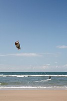 Kite-surfers on the beach, Texel, Holland, Netherlands, Europe