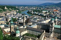 High angle view at buildings of the old town, Salzburg, Austria, Europe