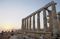 Poseidon temple, Cape Sounion at Sunset, Mediterranean sea, Greece, Europe