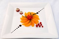 Dessert, fresh fruit platter served with various fruits on a white plate, haute cuisine, Auberge de la Ferme Hueb, Mike Germershausen, Marckolsheim, A...