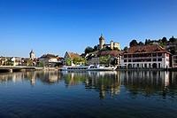 View over the Rhine river at the town of Schaffhausen, High Rhine, Canton Schaffhausen, Switzerland, Europe