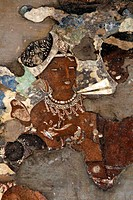 An Apsaras Ajanta Cave painting at Aurangabad , Maharashtra , India