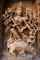 Statues carved on wall in Heritage architecture , Step well Rani ni Vava , Patan , Gujarat , India