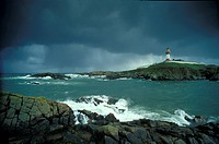 Lighthouse and stormy sea, Boddam Village, Grampian mountains, Scotland, Great Britain