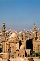 Egypt, Cairo, Mosques of Sultan Hassan and ar-Rifai, skyline,