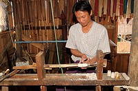 Wood turner is producing screen sliders with the help of a foot-operated lathe, Inle Lake, Myanmar, Burma, Southeast Asia, Asia