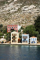 Houses in the bay, Megisti town on the Kastelorizo Island, Meis, Dodecanese Islands, Aegean, Mediterranean, Greece