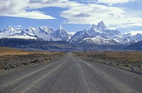 Empty road leading to Mount Fitz Roy, El CaltÚn, Patagonia, Argentina, South America, America