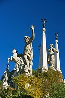 Sculptures and statues in the garden of the baroque Palazzo Borromeo, Isola Bella, Lago Maggiore, Piedmont, Italy