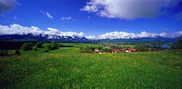 View from Aidlinger Hoehe towards lake Staffelsee, Upper Bavaria, Germany