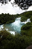 View at Krka falls under overcast sky, Croatia, Europe