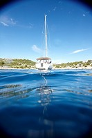 Sailing boat in a bay at the Kornati archipelago, Croatia, Europe