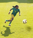 South African footballer, Siphiwe Tshabalala, midfield, at a test match before the World Cup 2010
