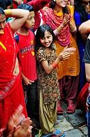 Happy girl at the festival, Kathmandu Nepal