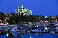 Fisching port and cathedral la seu in the evening light, Palma cathedral, Palma de Mallorca, Mallorca, Balearen, Spain