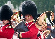 Queens guards band during the 'Changing of the guard', London