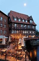 Restaurant terrace on the Ilmenau river, Bergstroem four-star hotel, evening mood, old town, Lueneburg, Lower Saxony, Germany, Europe