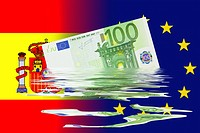 Dilution of the Euro currency following a crisis triggered by Spain, symbolic image
