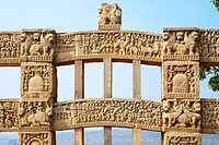 Close_up view of stories of Buddha seen on inner view of western gateway of stupa 1, Sanchi near Bhopal , Madhya Pradesh , India